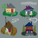 Winter Home  Icons Stock Photography