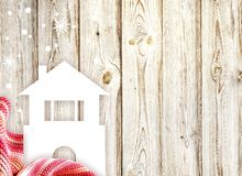 Winter home and scarf Royalty Free Stock Photo