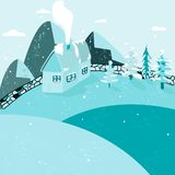 Winter home with smoke from chimney. vector illustration