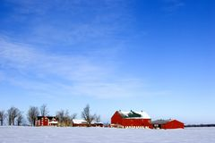 Winter on the homestead. Red farm houses on a cold, clear winter day Stock Photography