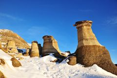 Winter hoodoos field Royalty Free Stock Photography