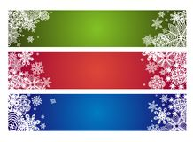 Winter horizontal banner with paper snowflakes Royalty Free Stock Image