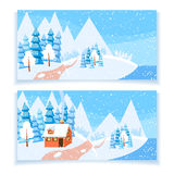 Winter horizontal banner. Set of two winter horizontal banners. Powdered with snow house, trees and spruces on snow-covered ground. Bright color vector royalty free illustration