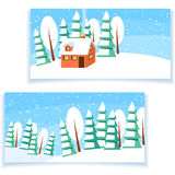 Winter horizontal banner Stock Photo