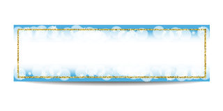 Winter horizontal banner template with golden frame and snowflakes Stock Photo