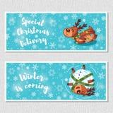 Winter horizontal banners with cute cartoon deer Royalty Free Stock Photos
