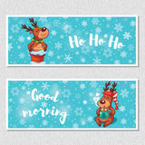 Winter horizontal banners with cute cartoon deer Stock Images