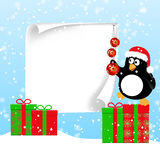 Winter horizontal banners with penguins. Winter banner with cute penguin in Santa hat hangs Christmas decorations on big piece of paper staying on gifts. Vector vector illustration
