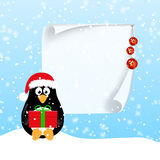 Winter horizontal banners with penguins. Winter banner with cute penguin in Santa hat with present and big piece of paper with Christmas decorations on snow stock illustration