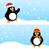 Winter horizontal banners with penguins. Set of winter horizontal banners with penguins. Cute penguin in Santa hat catching snowflake. Funny penguin in winter vector illustration