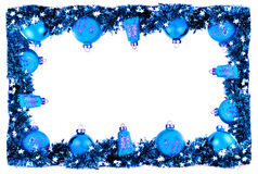 Winter horizontal card, frame with blue balls and garland Royalty Free Stock Photography