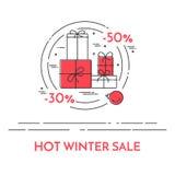 Winter horizontal Christmas banner Flat line art Stock Photo