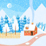 Winter horizontal landscape banner Flat style. Winter landscape with powdered house, trees and spruces in forest on snow-covered ground.Vector illustration. Flat Royalty Free Stock Photo
