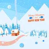 Winter horizontal landscape banner Flat style. Winter landscape with powdered house, trees and spruces in forest on snow-covered ground.Vector illustration. Flat Royalty Free Stock Photography