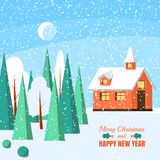 Winter horizontal landscape banner Flat style. Winter landscape with powdered house, trees and spruces in forest on snow-covered ground.Vector illustration. Flat Stock Photography