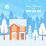 Winter horizontal landscape banner Flat style. Winter landscape with powdered house, trees and spruces in forest on snow-covered ground.Vector illustration. Flat Stock Image