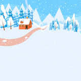 Winter horizontal landscape banner Flat style. Winter landscape with powdered house, trees and spruces on snow-covered ground. Bright colorful vector Royalty Free Stock Photo