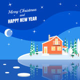 Winter horizontal landscape banner Flat style. Winter landscape with powdered house, trees, spruces on snow-covered ground on lake.Vector illustration. Flat vector illustration