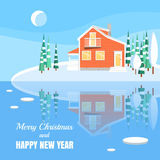 Winter horizontal landscape banner Flat style. Winter landscape with powdered house, trees, spruces on snow-covered ground on lake.Vector illustration. Flat royalty free illustration