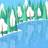 Winter horizontal landscape banner Flat style. Winter landscape with powdered trees and spruces in forest on snow-covered ground on lake.Vector illustration Royalty Free Stock Photo