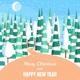 Winter horizontal landscape banner Flat style. Winter landscape with powdered trees and spruces in forest on snow-covered ground.Vector illustration. Flat style Stock Photography
