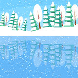 Winter horizontal landscape banner Flat style. Winter landscape with powdered trees and spruces on the lake. Reflexion of nature in the water. Colorful vector Royalty Free Stock Photography