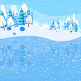 Winter horizontal landscape banner Flat style. Winter landscape with powdered trees and spruces on the lake. Reflexion of nature in the water. Vector Stock Photo