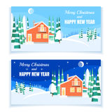 Winter horizontal landscape banner Flat style. Set of winter landscapes with powdered house, trees, spruces in forest on snow-covered ground.Vector illustration Royalty Free Stock Photo