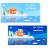Winter horizontal landscape banner Flat style. Set of winter landscapes with powdered house, trees, spruces on snow-covered ground on lake.Vector illustration royalty free illustration