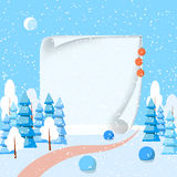 Winter horizontal landscape banner with paper Flat style. Winter landscape with powdered trees, spruces, big piece of paper on snow-covered ground.Vector Stock Photo