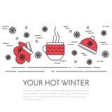 Winter horizontal mittens banner Linear style. Winter horizontal banner with cup of tea, mittens, and hat. Flat linear stile. Vector illustration. Black, red stock illustration