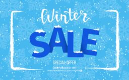Winter horizontal sale banner, poster, flyer template with blue snowflakes background. Snow frame. Special seasonal offer.Big Sale. Winter horizontal sale banner Stock Photography