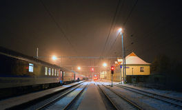 Winter in Horni Lidec station Royalty Free Stock Photos