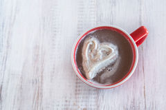 Winter Hot Chocolate Drink In Mug With Whipped Cream Heart Royalty Free Stock Photography