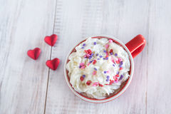 Winter Hot Chocolate With Whipped Cream and Hearts Royalty Free Stock Photos