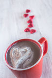 Winter Hot Chocolate With Whipped Cream Valentine Hearts Royalty Free Stock Photography