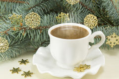 Winter hot coffee time Royalty Free Stock Image