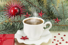 Winter hot coffee time Stock Images
