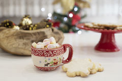 Winter hot drink, cacao with marshmallows and christmas cookies with royal icing, spicy hot chocolate. Christmas tree with lights Stock Image