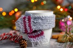 Winter hot drink christmas background.Holiday cocoa cup home gingerbread cookie on a table. Xmas beverages concept.New year cocoa. Advertisement design Stock Image