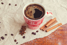 Winter Hot Drink. Christmas coffee with cinnamon and anise Royalty Free Stock Images