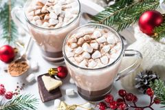 Christmas hot chocolate or cocoa with marshmallow. Royalty Free Stock Photos