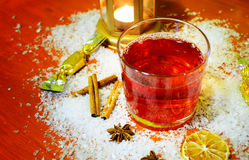 Winter hot drink punch and ingredients. Stock Photo