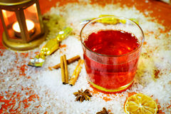 Winter hot drink punch and ingredients. Stock Photos