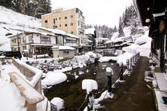 Winter hot spring town Royalty Free Stock Photo