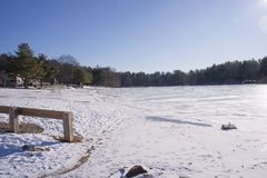 A view of Houghton`s Pond when it`s frozen over. Winter at Houghton`s pond in Milton Mass. Located in the Blue Hills Reservation, it`s a popular place for Royalty Free Stock Photography