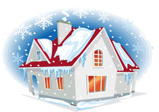 Winter house. With snowfall.Vector Illustration Royalty Free Stock Photography