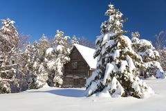 Winter house. Serbia, Divcibare, mountain house in snow Royalty Free Stock Image