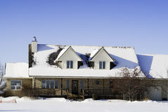 Winter House. A large house with snow on the roof, shot against a clear blue sky Royalty Free Stock Photos