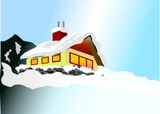 Winter House. Snowed in cottage on the side of a mountain at night Royalty Free Stock Photos